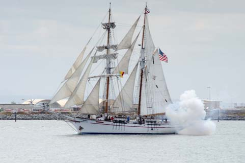 Tall ship cannon blast