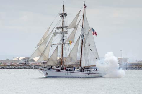 Tall ship cannon blast