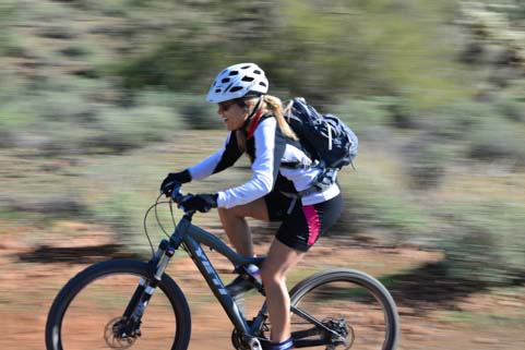 Girl mountain biker