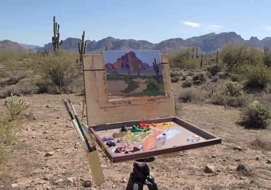 Artist easel in the Sonoran desert