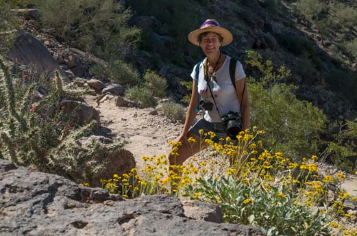 Emily poses with brittlebush