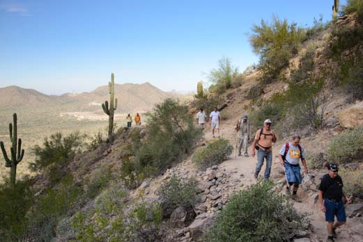 Busy day on Usery Mountain Wind Cave Hiking Trail