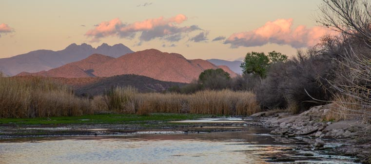 Four peaks and Salt River at dusk
