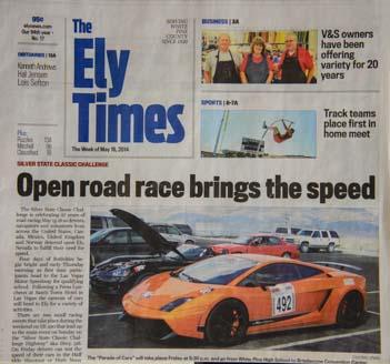 Ely Newspaper car race Headlines