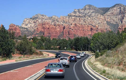 Lots of cars on the road in Sedona AZ