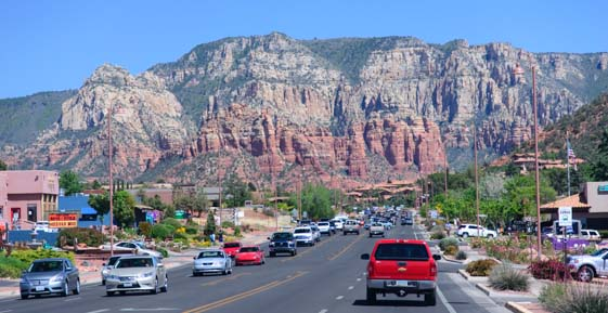 Heavy traffic in Uptown Sedona