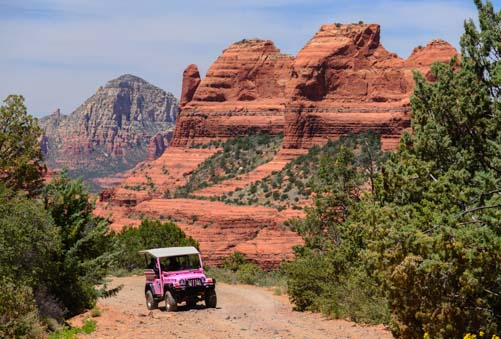 Pink jeep tour Schnebly Hill Road Sedona Arizona