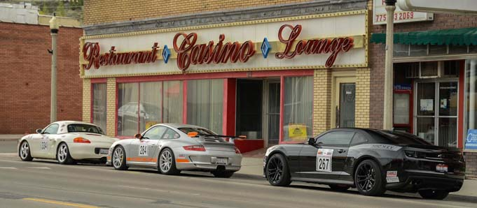 Nevada Open Road Challenge race cars parked at casino