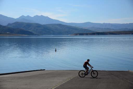 Biking on the boat ramp