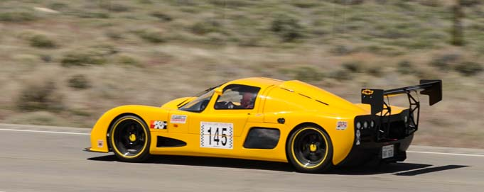 Bob Wood races his Ultima GTR to win the Nevada Open Road Challenge
