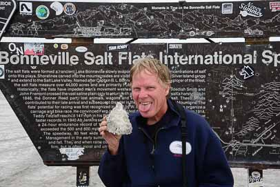 Mark tastes the salt flats at Bonneville