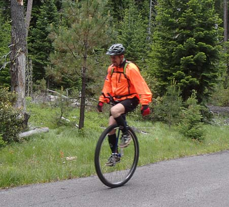Unicycle on McKenzie Pass Oregon