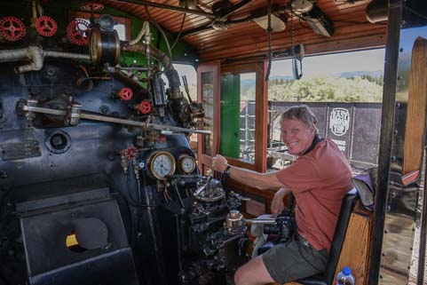 Mark at the wheel of Sumpter Railroad Oregon