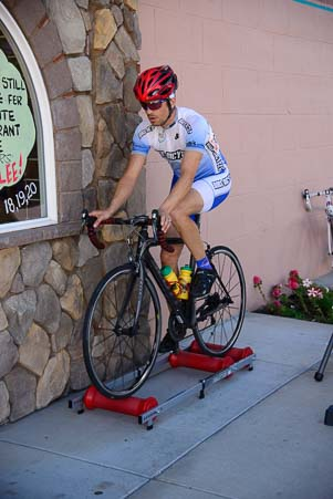 Cyclist warms up for the Baker City Cycling Classic