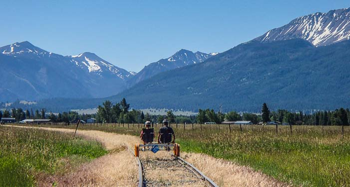 Rail riding into the mountains in Joseph Oregon