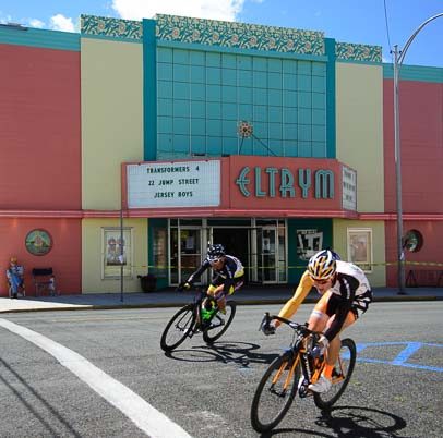 Cyclists race in downtown Baker City Oregon_