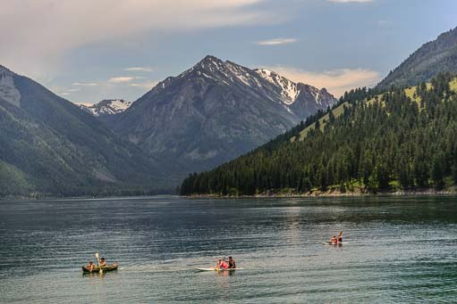 Three kayaks at Wallowa Lake Oregon