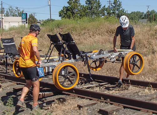 The rail riding bikes are all turned around