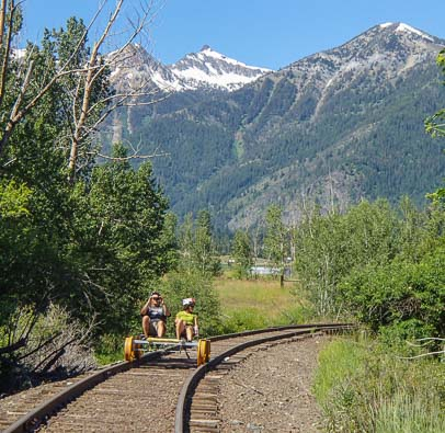 14 406 Bike riding on the railroad with mountain backdrops