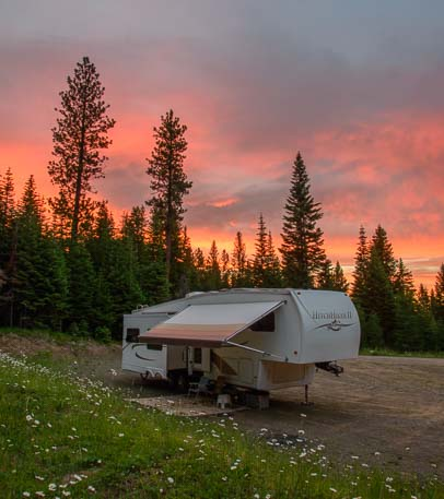 Sunset behind our fifth wheel trailer