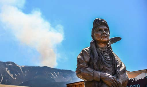 Chief Joseph and wildfire near Joseph Oregon