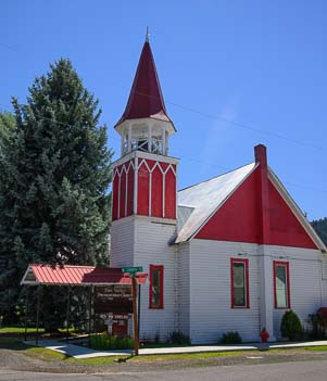 Red roofed church in Halfway Oregon