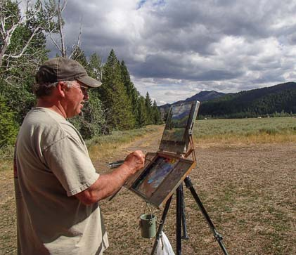 Sun Valley Plein Air Artist Bart Walker paints in the Sawtooth Mountains
