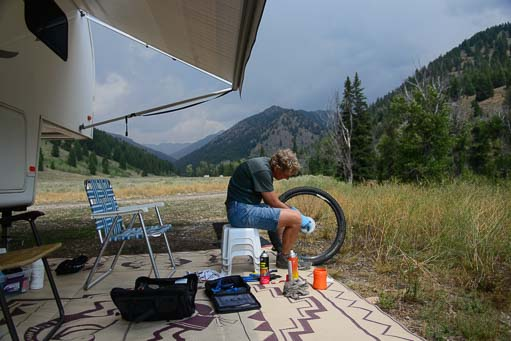 Working on a bicycle wheel while RV boondocking