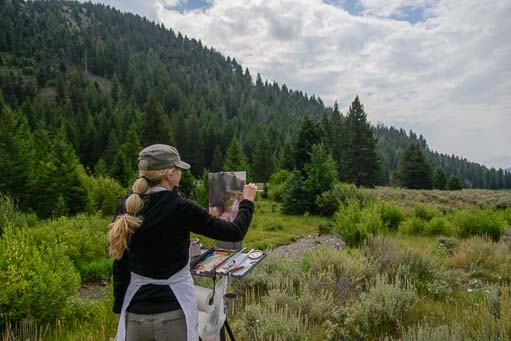 "Artist Lori McNee paints in oils ""Plein Air"" in Sun Valley Idaho"