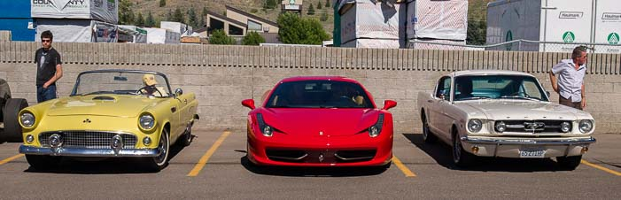 Ferrari and other cars at the car show in Sun Valley Idaho