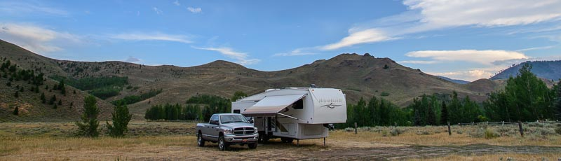 RV boondocking in the Sawtooth National Recreation Area Ketchum Idaho