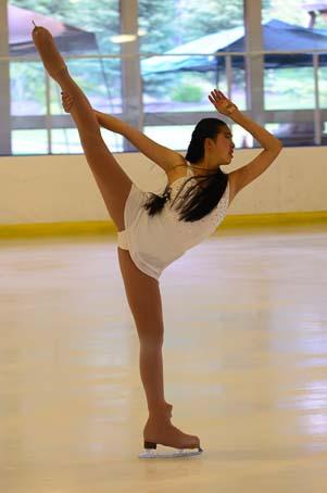 Figure skater does a spiral