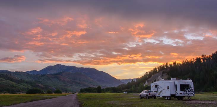Sunrise over our RV in Idaho