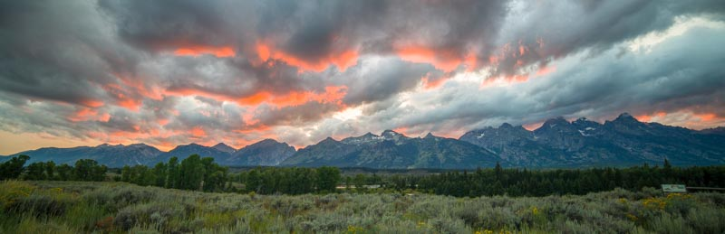 Fire in the sky at Grand Teton National Monument in Wyoming