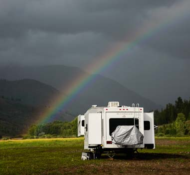 Rainbow over our fifth wheel in Alpine Wyoming