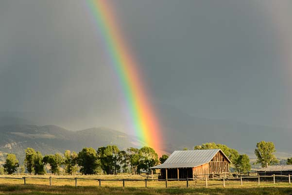 Vivid rainbow at Mormon Row Grand Teton National Park Wyoming