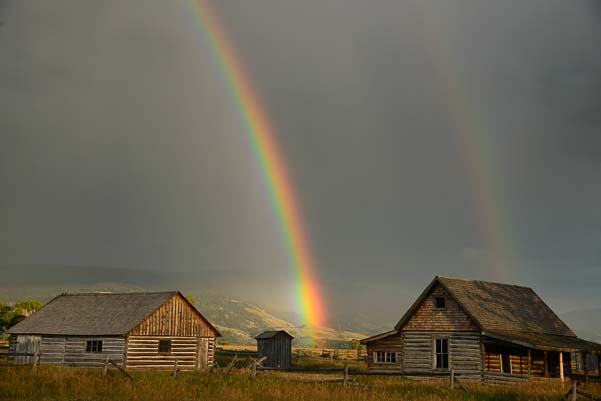 rainbow on the Mormon barns at Grand Teton National Park Wyoming