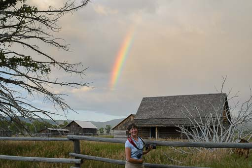 Happy photographer with rainbow at Mormon Row
