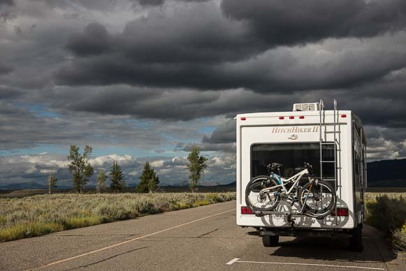 Storm clouds over our fifth wheel RV