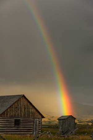 Rainblow into an outhouse at Grand Teton Wyoming