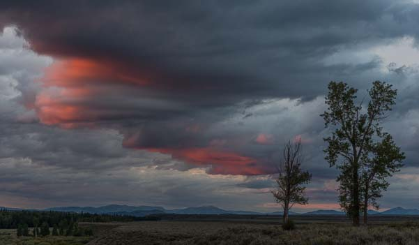 Storm clouds and sunset in Wyoming
