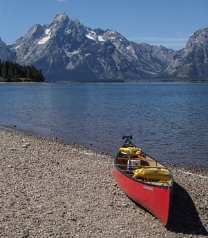 A kayak at Jenny Lake Wyoming