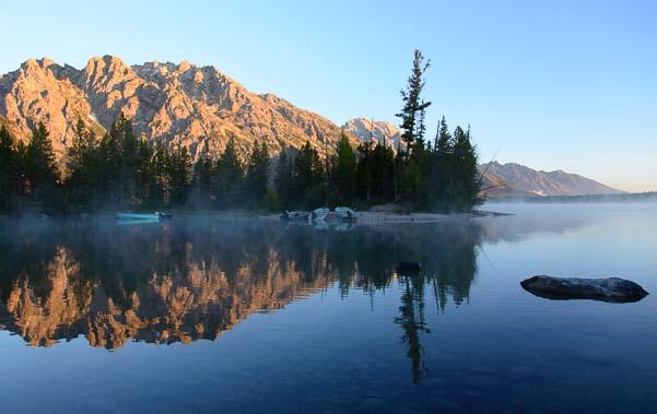 Morning mist on the water Jenny Lake Grand Teton National Park