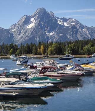 Powerboats in Jenny Lake Marina Grand Teton National Park
