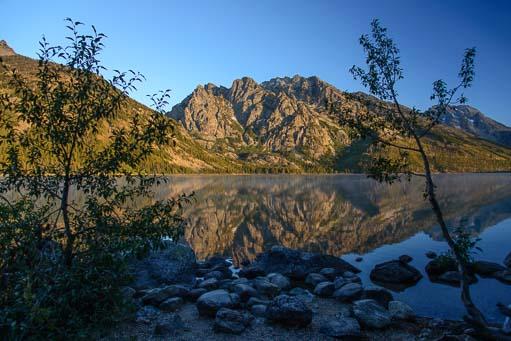 Mirrored mountains Jenny Lake Grand Teton National Park Wyoming