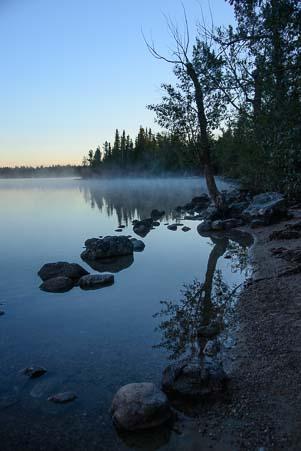 Misty morning on Jenny Lake Wyoming