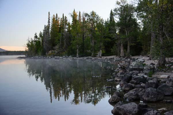 Foggy shores of Jenny Lake Grand Teton Wyoming