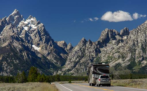A motorhome drives in Grand Teton National Park Wyoming