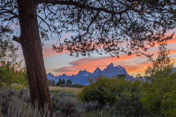 Teton Mountains in Wyoming at sunset