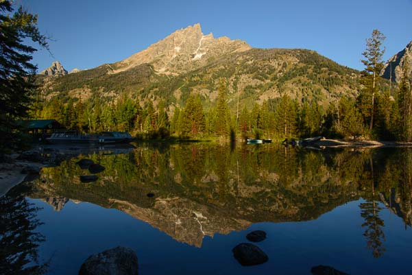 Mirrored reflection across Jenny Lake in Wyoming